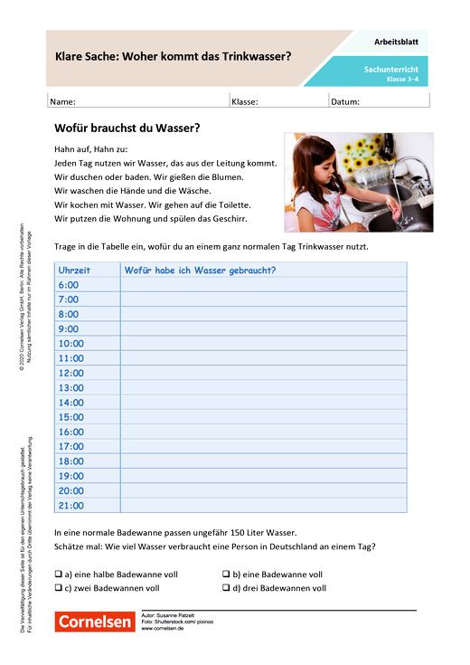 Klare Sache: Wo kommt das Trinkwasser her? - Arbeitsblatt mit Lösungen