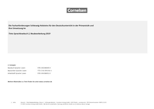 Tinto Sprachlesebuch 2-4 - Synopse für Schleswig-Holstein - 2. Schuljahr
