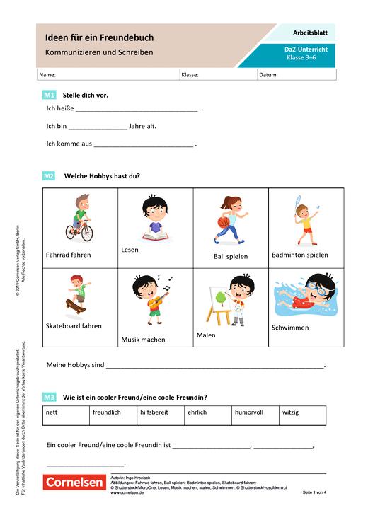 DaZ: Ideen für ein Freundebuch - Kommunizieren und Schreiben - Arbeitsblatt mit Lösungen