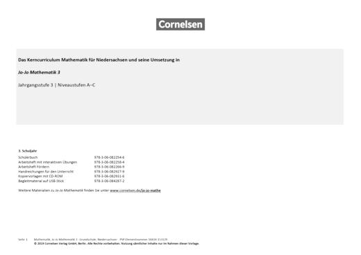 Jo-Jo Mathematik - Synopse für Niedersachsen - 3. Schuljahr