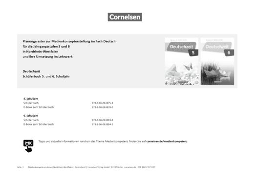 Deutschzeit - Deutschzeit Nordrhein-Westfalen 5 und 6 - Planungsraster zur Medienkonzepterstellung - Planungsraster