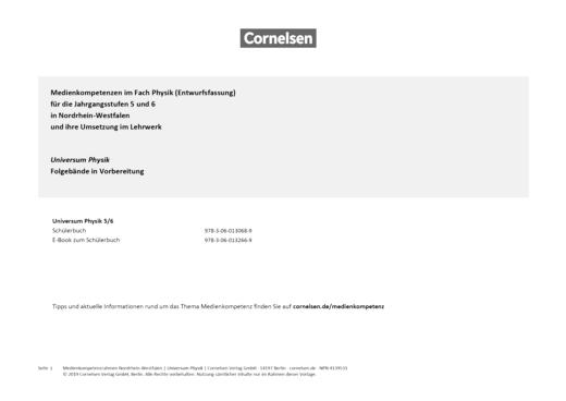 Universum Physik - Planungsraster zur Medienkonzepterstellung - 5./6. Schuljahr