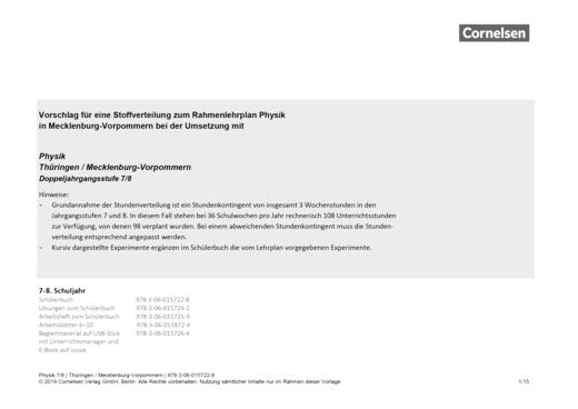 Physik - Neue Ausgabe - Stoffverteilungsplan für Mecklenburg-Vorpommern - 7./8. Schuljahr
