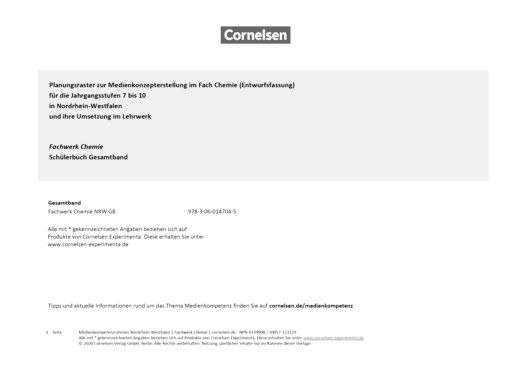 Fachwerk Chemie - Fachwerk Chemie Gesamtband Nordrhein-Westfalen Planungsraster zur Medienkonzepterstellung - Planungsraster - Gesamtband: 7.-10. Schuljahr