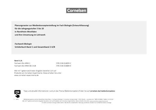 Fachwerk Biologie - Fachwerk Biologie 1 + 2 A/B Nordrhein-Westfalen Planungsraster zur Medienkonzepterstellung - Planungsraster - Gesamtband 2 A/B
