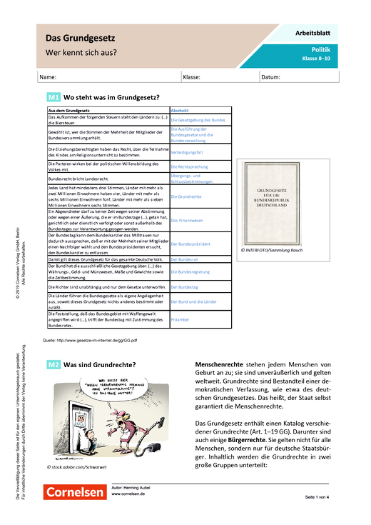 Das Grundgesetz Wer Kennt Sich Aus Arbeitsblatt Mit Lösungen Webshop Download
