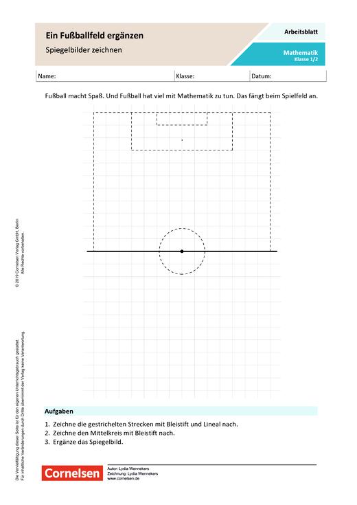 Ein Fußballfeld ergänzen: Spiegelbilder zeichnen - Arbeitsblatt mit Lösungen
