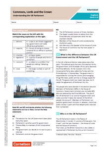 Commons, Lords and the Crown - Understanding the UK Parliament - Arbeitsblatt mit Lösungen