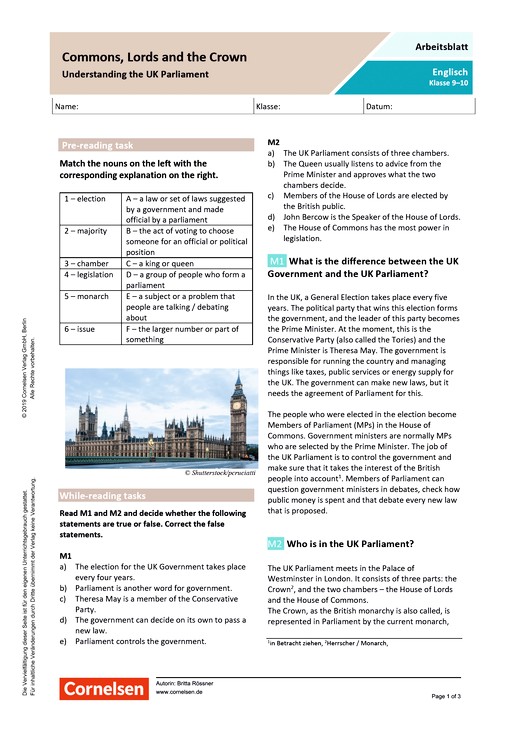 Commons, Lords and the Crown - Understanding the UK Parliament - Arbeitsblatt mit Lösungen