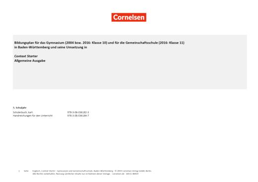 Context Starter - Planungshilfe für Context Starter Allgemeine Ausgabe - Neubearbeitung - Synopse