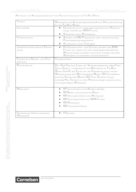 Lernsituation: Werbeplan und Anzeigengestaltung – eine Herausforderung für die Fly Bike Werke - Arbeitsblatt