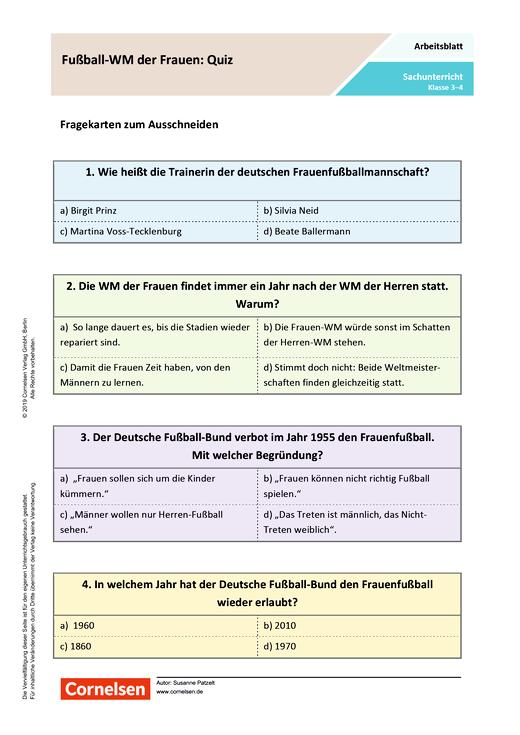 Fußball Wm Der Frauen Quiz Arbeitsblatt Mit Lösungen Webshop Download