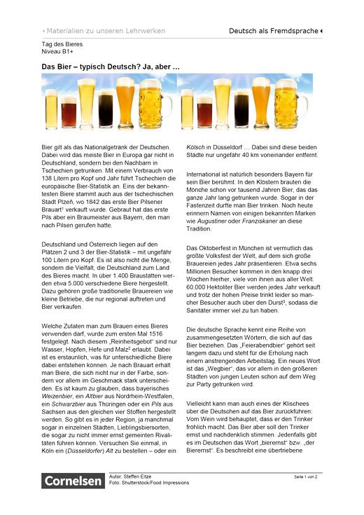 Tag des Bieres (B1+) - Arbeitsblatt - Webshop-Download