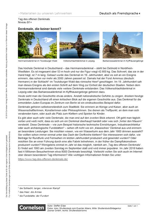 Tag des offenen Denkmals - Arbeitsblatt