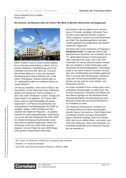 Das Humboldt Forum in Berlin (B1+) - Arbeitsblatt