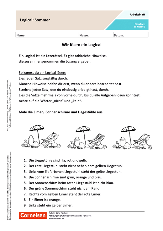 Logical: Sommer - Arbeitsblatt mit Lösungen - Webshop-Download