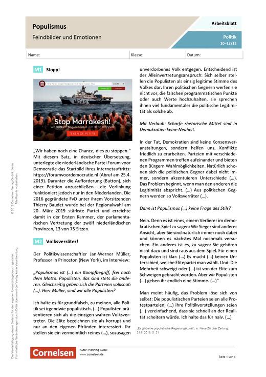 Populismus: Feindbilder und Emotionen - Arbeitsblatt mit Lösungen - Webshop-Download