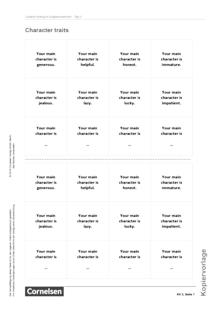 English G Lighthouse - Creative Writing: Character traits - Arbeitsblatt/Kopiervorlage - Band 1: 5. Schuljahr
