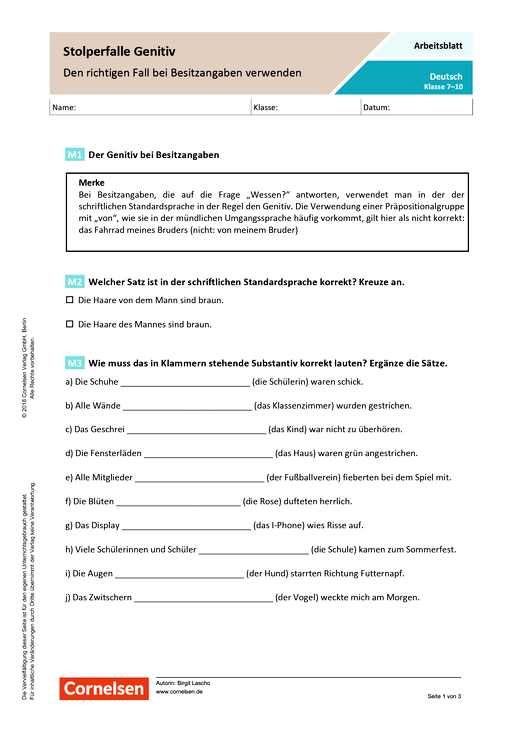 Stolperfalle Genitiv - Den richtigen Fall bei Besitzangaben verwenden - Arbeitsblatt mit Lösungen