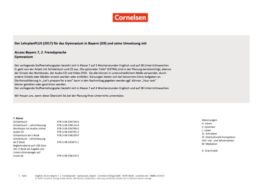 Access - Stoffverteilungsplan für 2. Fremdsprache Band 2 - Band 2