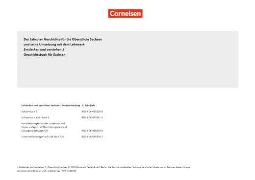 Entdecken und verstehen - Entdecken und verstehen 5. Schuljahr / Planungshilfe für Oberschulen in Sachsen - Synopse - Webshop-Download