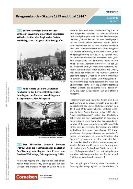 Kriegsbeginn - Skepsis 1939 und Jubel 1914? - Arbeitsblatt - Webshop-Download