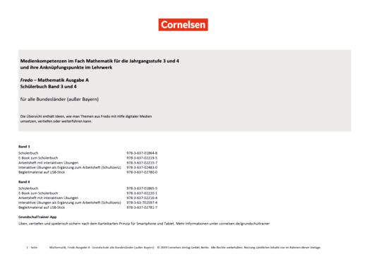 Fredo - Mathematik - Medienkompetenzen im Fach Mathematik für die Jahrgangsstufe 3 und 4 und ihre Anknüpfungspunkte im Lehrwerk - Synopse - Webshop-Download