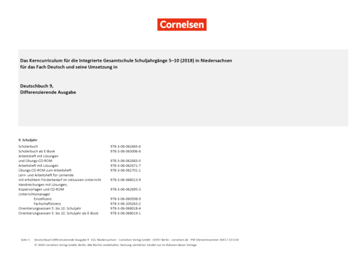 Deutschbuch - Planungshilfe Integrierte Gesamtschule (KC 2018) Niedersachsen - Synopse - 9. Schuljahr