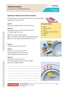 Flitzefische basteln - Ein Experiment zur Oberflächenspannung - Arbeitsblatt mit Lösungen