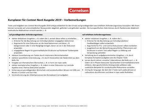 Context - Kursplaner für grundlegendes und erhöhtes Anforderungsniveau