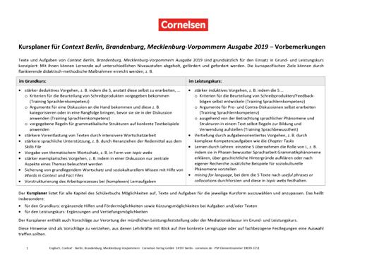 Context - Kursplaner - Planungshilfe für Grund- und Leistungskurs - Context BBM - Ausgabe 2019 - Vollversion - Kursplaner