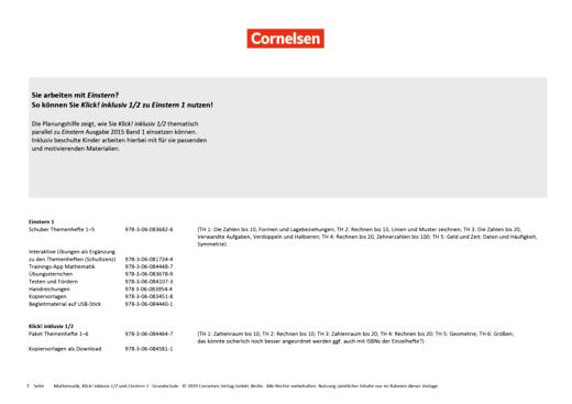 Einstern - Übersicht Klick! inklusiv 1/2 zu Einstern 1 Neubearbeitung 2015 - Synopse - Band 1
