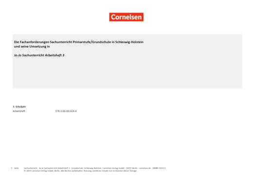 Jo-Jo Sachunterricht - Jo-Jo Sachunterricht 3 – Synopse für Schleswig-Holstein - Synopse - Webshop-Download