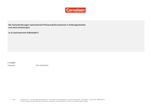 Jo-Jo Sachunterricht - Synopse für Schleswig-Holstein - 4. Schuljahr