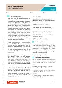 Fleisch, Gemüse, Obst … - Ernährung in Deutschland - Arbeitsblatt mit Lösungen