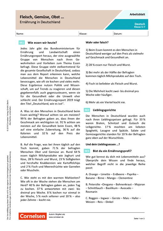 Fleisch Gemüse Obst Ernährung In Deutschland Arbeitsblatt Mit Lösungen Webshop Download