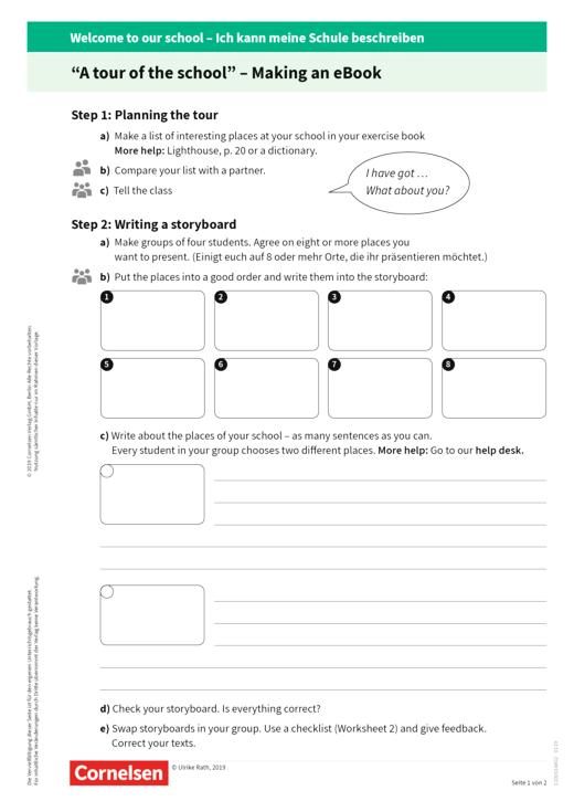"English G Lighthouse - Best Practice : Worksheet 1 ""Writing a storyboard"" - Kopiervorlage"
