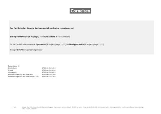 Biologie Oberstufe (3. Auflage) - Biologie Sachsen-Anhalt - Biologie Oberstufe (3. Auflage) - Sekundarstufe II - erhöhtes Anforderungsniveau - Stoffverteilungsplan - Gesamtband