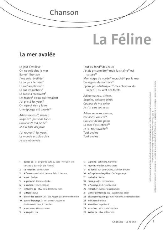 FrancoMusiques - La Feline - La Mer Avalée - Arbeitsblatt - A1/A2