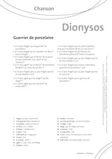 FrancoMusiques - Dionysos - Guerrier De Porcelaine - Arbeitsblatt - A1/A2