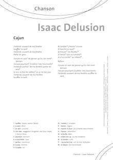 FrancoMusiques - Isaac Delusion - Cajun - Arbeitsblatt - A1+/A2