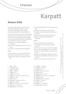 FrancoMusiques - Karpatt - Amour d'été - Arbeitsblatt - A1+/B1