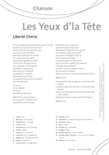 FrancoMusiques - Les Yeux d'la Tête - Liberté chérie - Arbeitsblatt - A1/A2