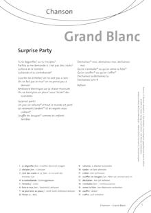 FrancoMusiques - Grand Blanc - Surprise Party - Arbeitsblatt - A1/A2