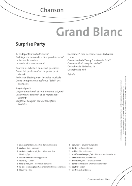 FrancoMusiques - Grand Blanc - Surprise Party - Arbeitsblatt - A1/A2