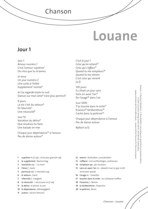 FrancoMusiques - Louane - Jour 1 - Arbeitsblatt - A1–B1