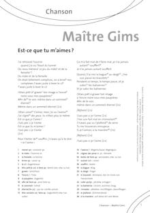 FrancoMusiques - Maître Gims - Est-Ce Que Tu M'Aimes - Arbeitsblatt - A1–B1