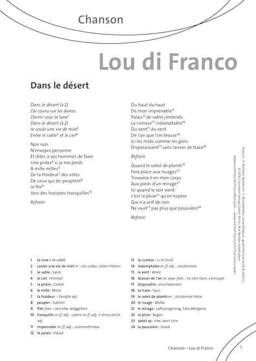 FrancoMusiques - Lou di Franco - Dans le Désert - Arbeitsblatt - A1–B1
