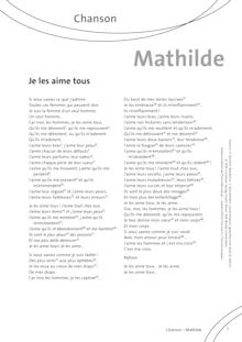 FrancoMusiques - Mathilde - Je les aime tous - Arbeitsblatt - A1–B2