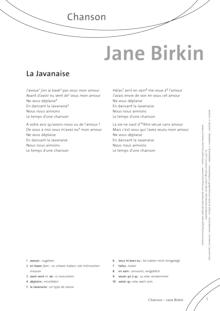 FrancoMusiques - Jane Birkin - La Javanaise - Arbeitsblatt - A2/B1